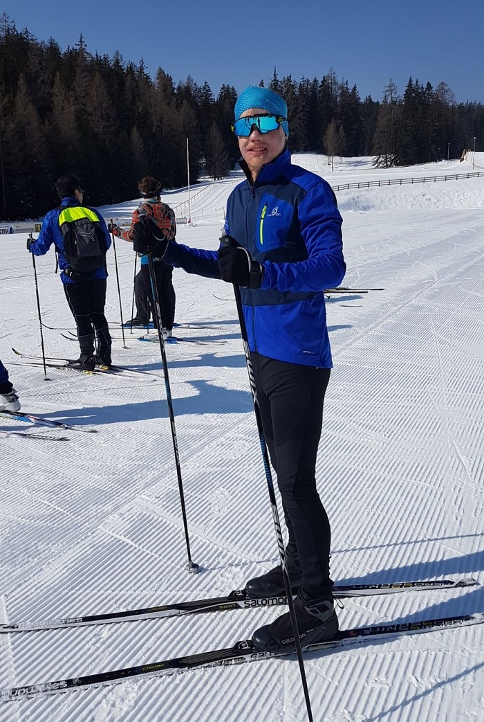 Philipp Bosshard standing on his cross-country skis.