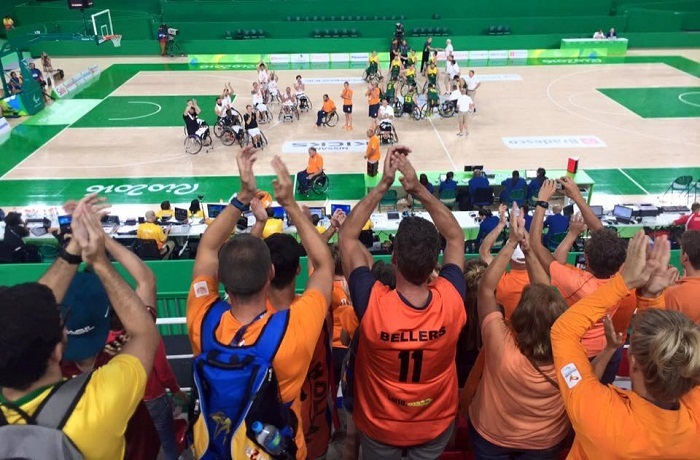 Picture of the fans and wheelchair basketball players at the stadium in Rio in summer 2016.