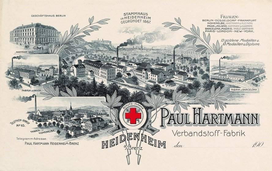 Historical postcard showing the headquarters as well as different branches and production sites of the PAUL HARTMANN AG