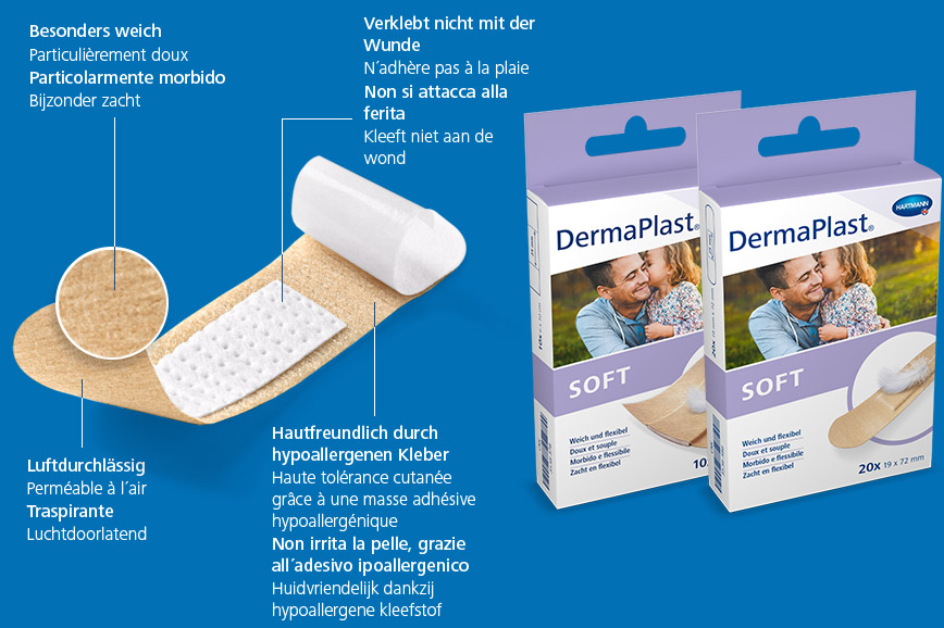 Hartmann DermaPlast® Soft plaster description of material wound patch plus two packshots with father and daughter happy together and feather.