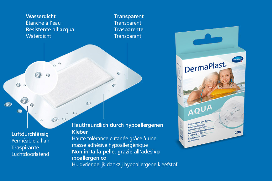 Hartmann DermaPlast® Aqua plaster description of material transparent wound patch water resistant plus packshot with mother and daughter swimming in water on floating matress.