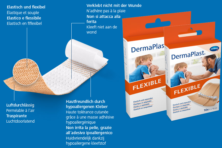 Hartmann DermaPlast® Flexible plaster description of material wound patch plus two packshots with father and son happy together playing.