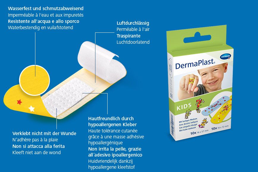 Hartmann DermaPlast® Kids plaster description of material wound patch plus packshot with boy smiling wearing colorful plaster on finger.
