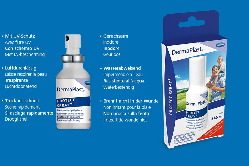 Hartmann DermaPlast® Protect Spray + description of transparent spray plaster and packshot with father holding son on shoulders happy outdoors summer green fields blue sky.