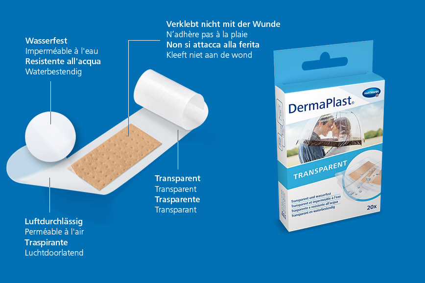 Hartmann DermaPlast® Transparent plaster description of material wound patch plus packshot with couple kissing beneath umbrella in rain.