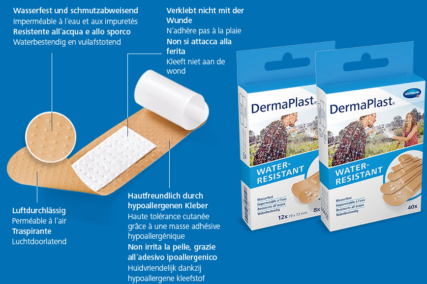 Hartmann DermaPlast® Water Resistant plaster description of material wound patch plus two packshots couple playing with water hose in summer clothes wet.