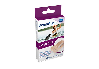 Hartmann DermaPlast® Comfort plaster packshot with woman in canoe on water.