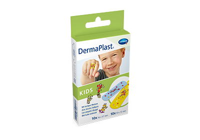 Hartmann DermaPlast® Kids plaster packshot boy smiling wearing colorful plaster on finger.