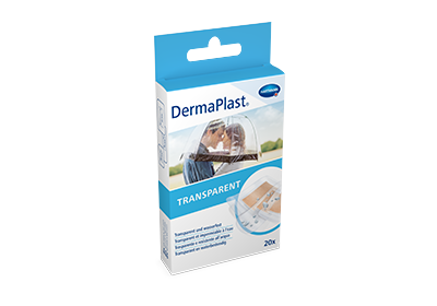 Hartmann DermaPlast® Transparent plaster packshot with couple kissing beneath umbrella in rain.