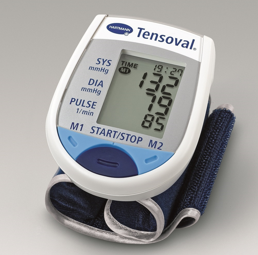 The picture shows a blood pressure meter for the wrist