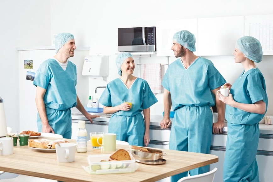 A surgical team  is having a break