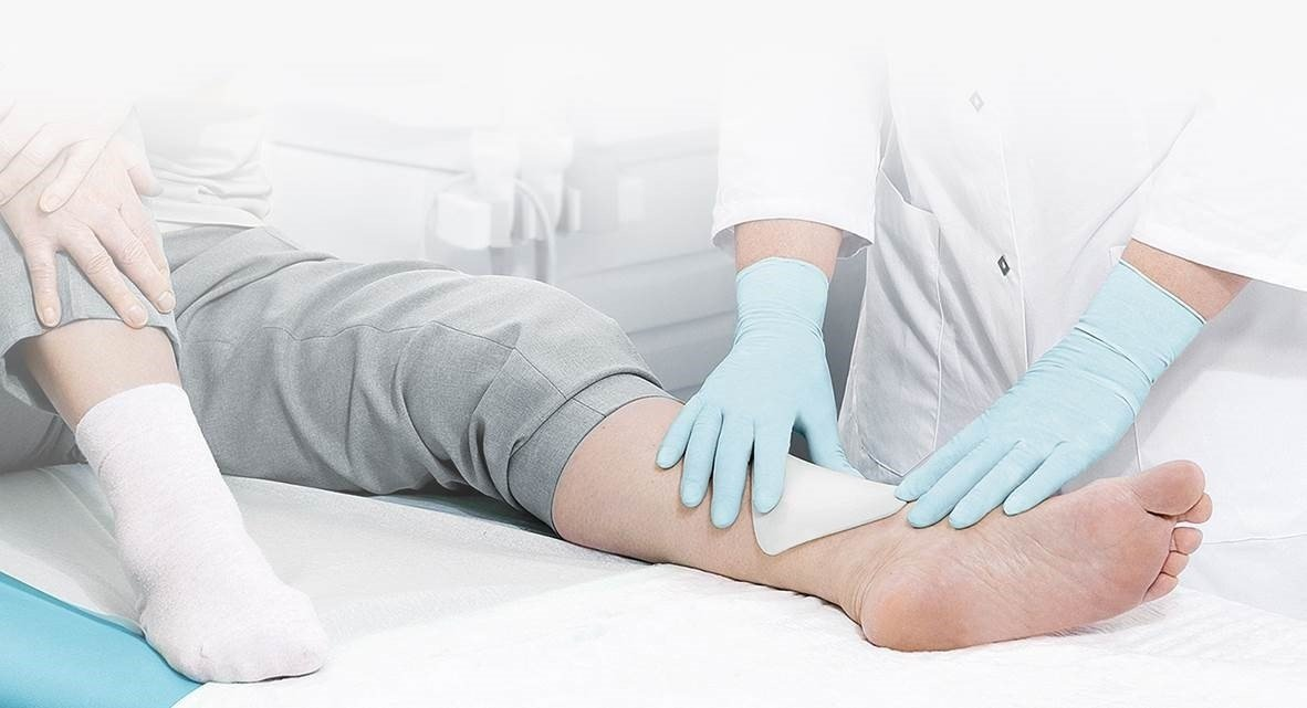 wound treatment on a leg