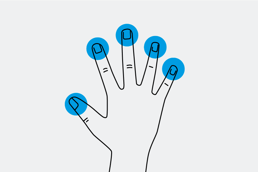 Hand with fingertips marked in blue
