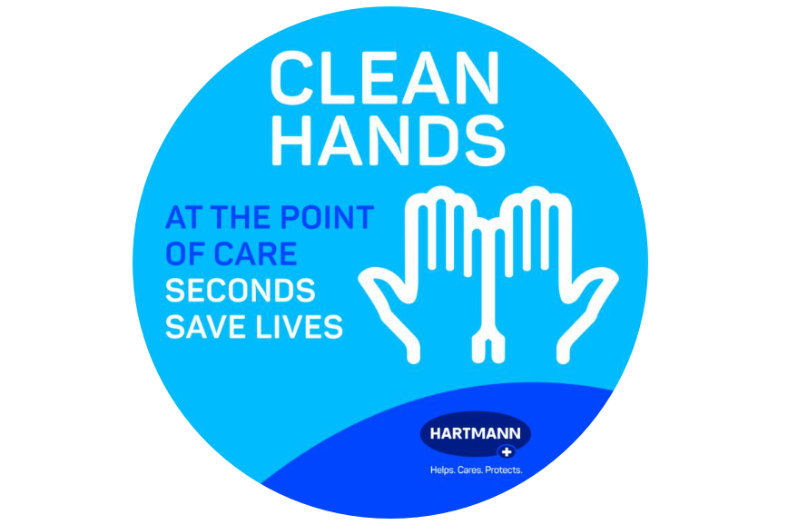 Point-of-care sticker from HARTMANN for International Hand Hygiene Day